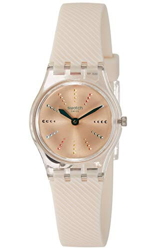 a563d5d99 Swatch Quadretten Light Pink Sunray Dial Ladies Silicone Watch LK372